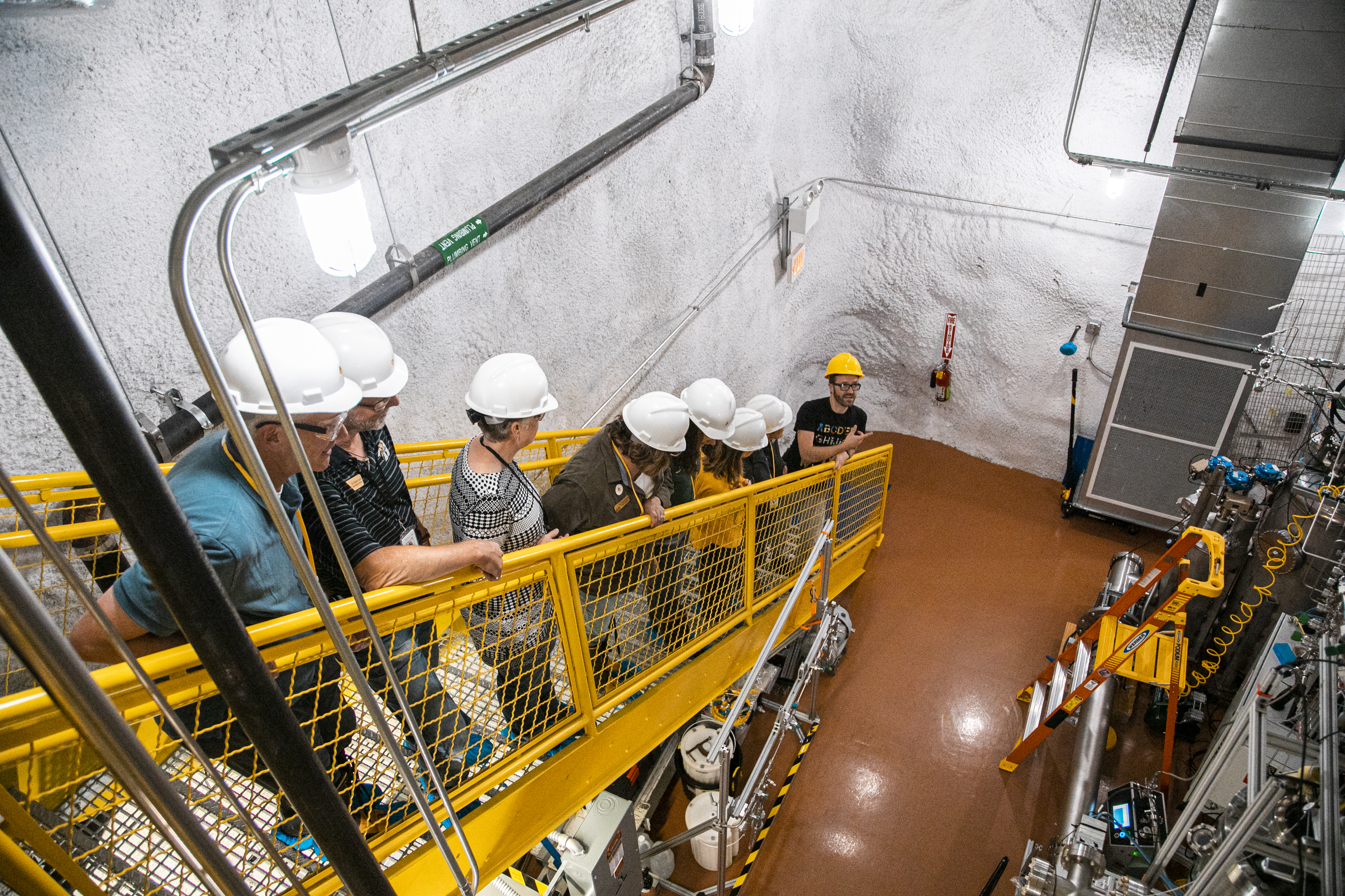Group visits Davis Cavern, where the LUX-ZEPLIN dark matter experiment is being assembled.
