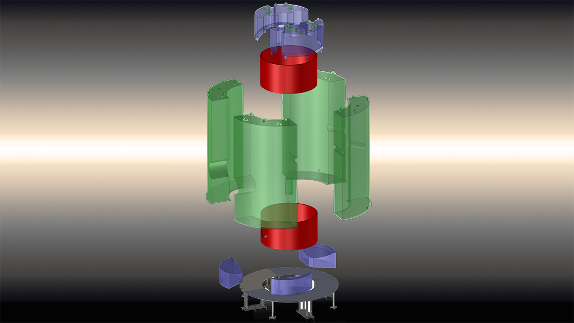 3D rendering of acrylic tanks used in the LZ experiment.