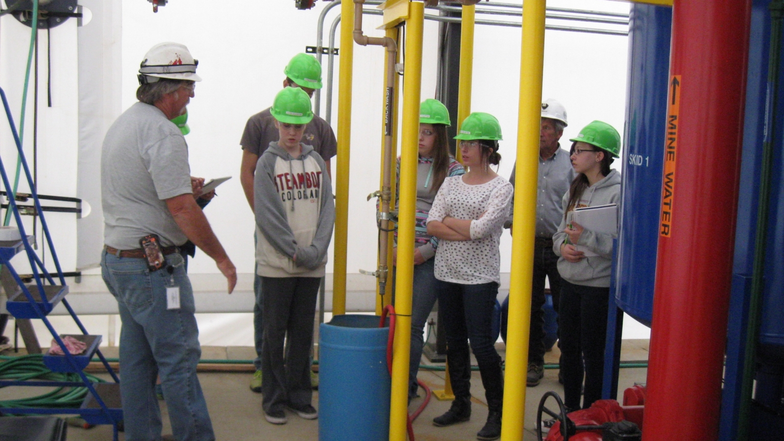 Students at the waste water treatment plant.