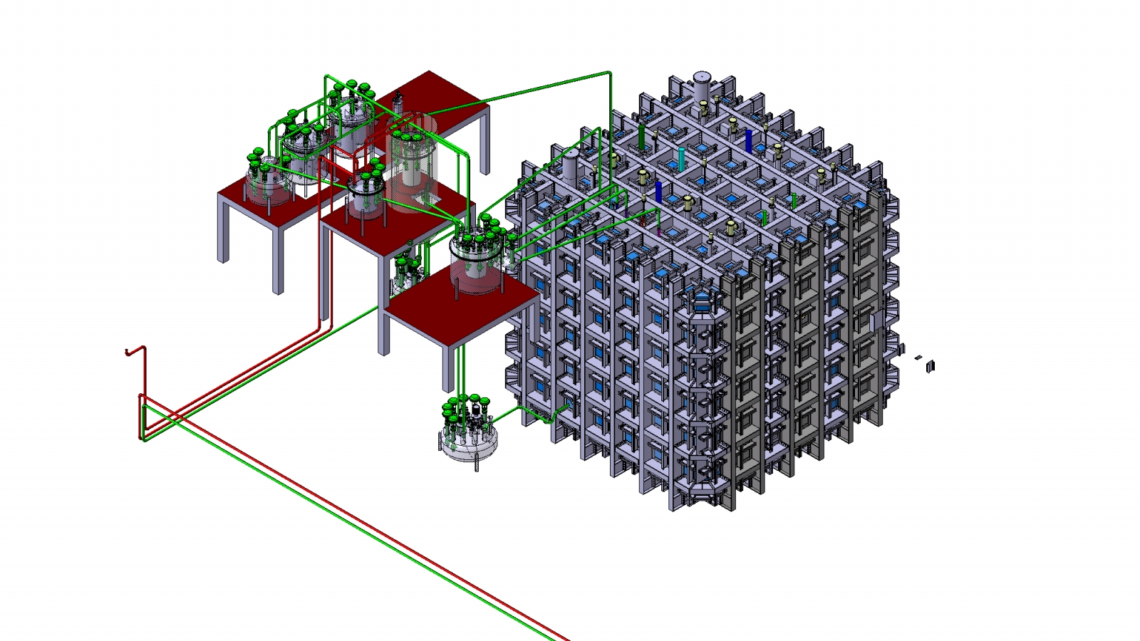 Rendering of the cryostat housing the dual-phase DUNE prototype detector and its cryogenics system. Image Courtesy of CERN.